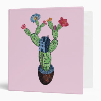Prickly cactus with flowers binder