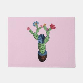 Prickly cactus with flowers doormat