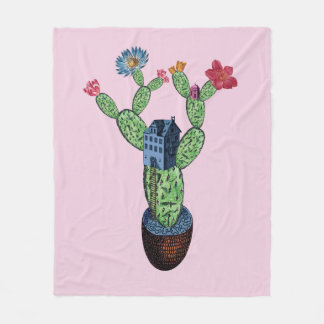 Prickly cactus with flowers fleece blanket