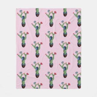Prickly cactus with flowers fleece blanket