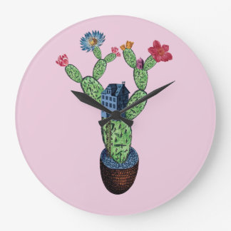 Prickly cactus with flowers large clock