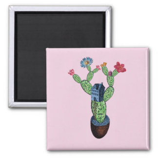 Prickly cactus with flowers magnet