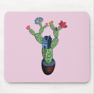 Prickly cactus with flowers mouse pad
