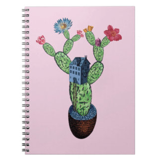 Prickly cactus with flowers notebook