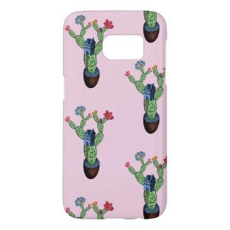 Prickly cactus with flowers samsung galaxy s7 case