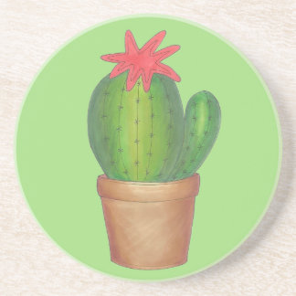 Prickly Green Cactus Garden Flower Potted Plant Coaster