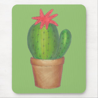 Prickly Green Cactus Garden Flower Potted Plant Mouse Pad