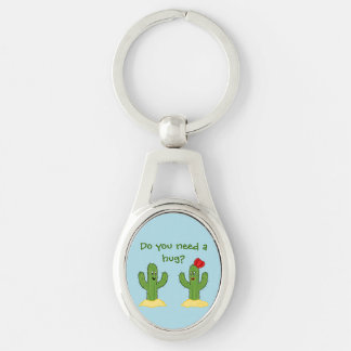 Prickly Pair Cartoon Cactus Guy & Gal Silver-Colored Oval Keychain
