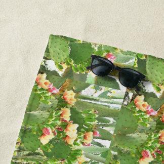 Prickly Pear Cactus in Bloom Custom BeachTowel Beach Towel