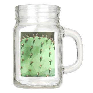 Prickly Pear Cactus Mason Jar with Handle