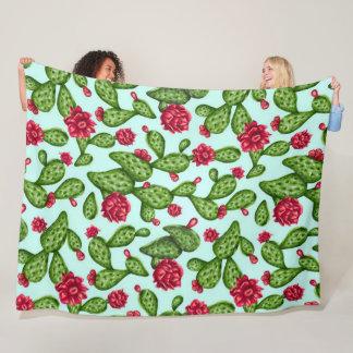Prickly Pear Cactus Satin Art Quilt Fleece Blanket