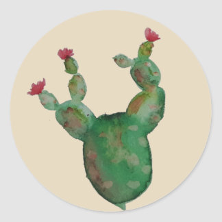 Prickly Pear Cactus Watercolor Stickers