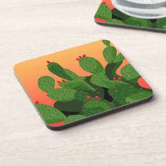 Prickly Pear Desert Sunset Coaster