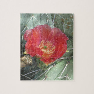 Prickly Pear Green with Red Bloom Jigsaw Puzzle
