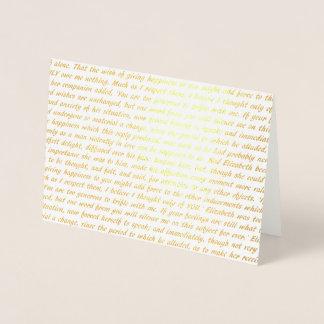 Pride and Prejudice Foil Gold Text Foil Card