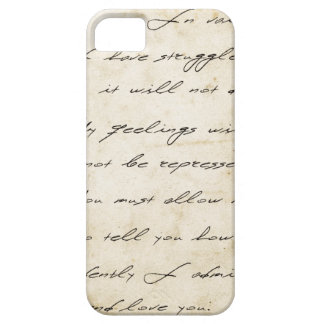 Pride and prejudice handwriting archival iPhone 5 cover