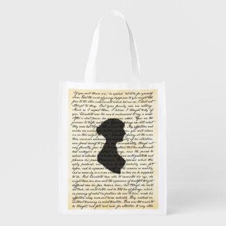 Pride and Prejudice Jane Austen Reusable Bag Grocery Bag