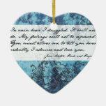 Pride and Prejudice Quote Ceramic Heart Ornament