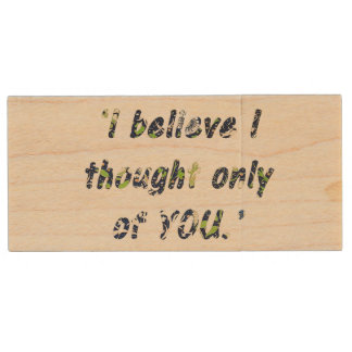 Pride and Prejudice Quote Customisable Wood USB 2.0 Flash Drive