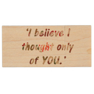 Pride and Prejudice Quote Customisable Wood USB Flash Drive