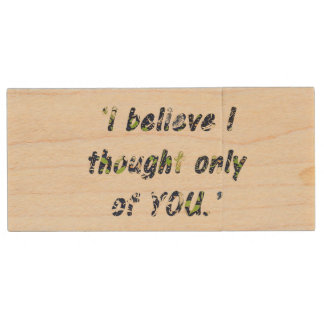 Pride and Prejudice Quote Double-Sided Wood USB 2.0 Flash Drive
