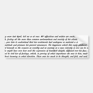 Pride and Prejudice Text Bumper Sticker