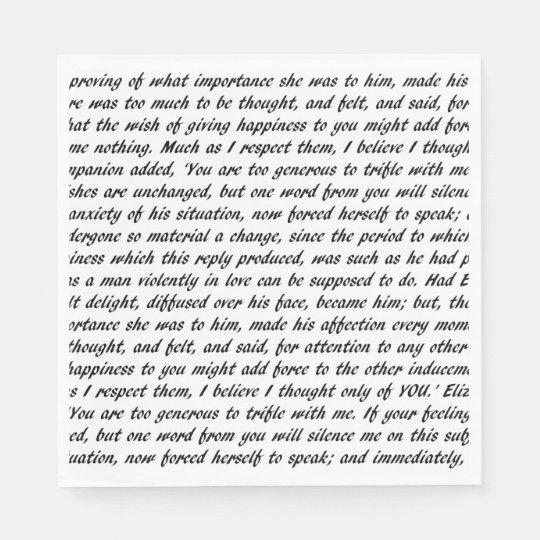 Pride and Prejudice Text Disposable Napkin