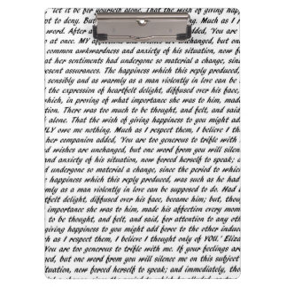 Pride and Prejudice Text Double-Sided Clipboard