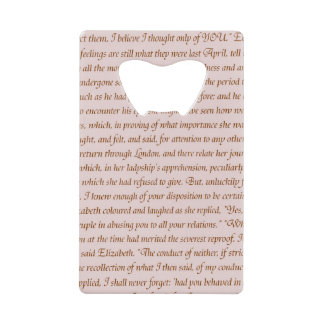 Pride and Prejudice Text Double-Sided Wallet Bottle Opener