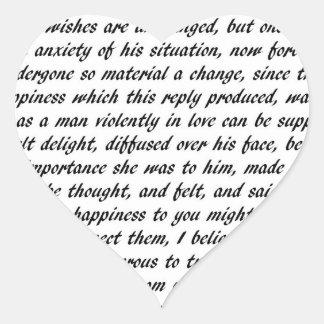 Pride and Prejudice Text Heart Sticker