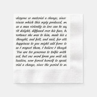 Pride and Prejudice Text Paper Napkin