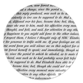 Pride and Prejudice Text Plate