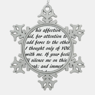 Pride and Prejudice Text Snowflake Pewter Christmas Ornament