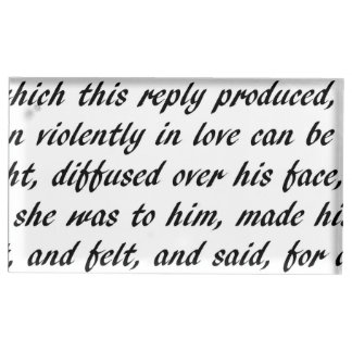 Pride and Prejudice Text Table Card Holder