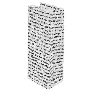 Pride and Prejudice Text Wine Gift Bag