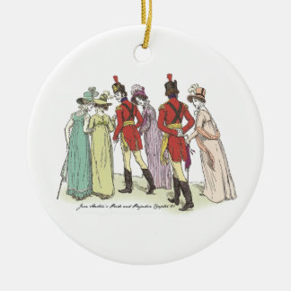 Pride and Prejudice - Walk With The Officers Round Ceramic Ornament
