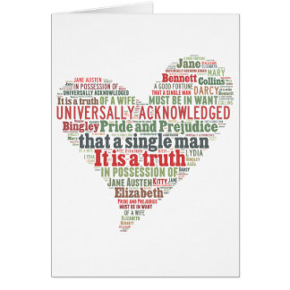 Pride and Prejudice Word Cloud Card