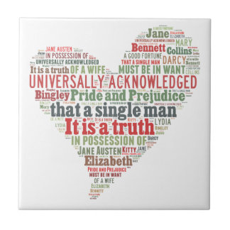 Pride and Prejudice Word Cloud Ceramic Tile