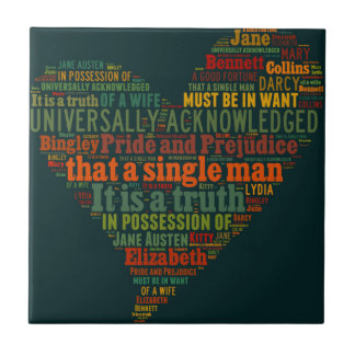 Pride and Prejudice Word Cloud Ceramic Tiles