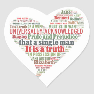 Pride and Prejudice Word Cloud Heart Sticker