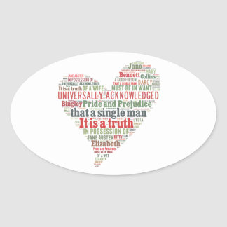 Pride and Prejudice Word Cloud Oval Sticker