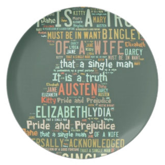 Pride and Prejudice Word Cloud Party Plates