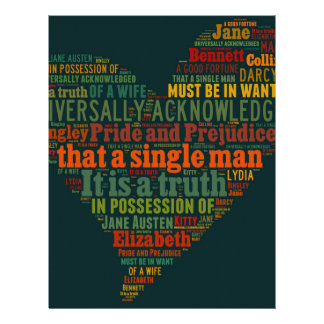 Pride and Prejudice Word Cloud Personalized Letterhead