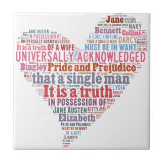 Pride and Prejudice Word Cloud Pink Ceramic Tile