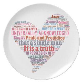 Pride and Prejudice Word Cloud Pink Dinner Plate