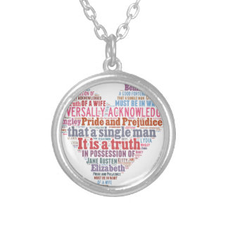 Pride and Prejudice Word Cloud Pink Silver Plated Necklace