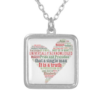 Pride and Prejudice Word Cloud Silver Plated Necklace