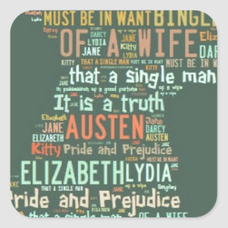 Pride and Prejudice Word Cloud Square Sticker
