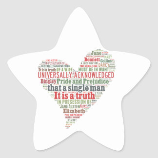 Pride and Prejudice Word Cloud Star Sticker