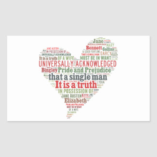 Pride and Prejudice Word Cloud Sticker